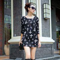 2014秋季新款女装法国羊绒大版女式长袖T恤打底衫时尚宽松长袖潮