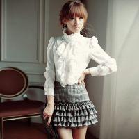2014春季打底衫新品时尚女装宫廷衫长袖衬衫修身立领荷叶边衬衫