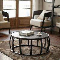 圆形茶几实木铁艺混搭小圆桌 鼓形经典咖啡桌子餐厅休闲桌