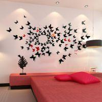 三维立体蝴蝶墙贴镜面 卧室餐厅客厅墙面装饰 24只精装版