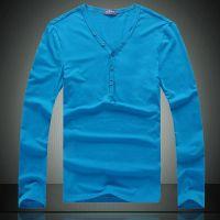 供应批发一件代发男装 男士V领莱卡弹力纯色长袖打底衫长T恤Lpwt13551