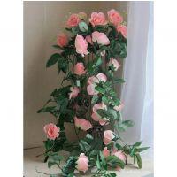 玫瑰藤粉色 仿真花藤塑料装饰品 家居花串 仿真植物工艺品
