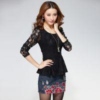 2014秋装新款女装纱网镂空蕾丝衫修身打底衫长袖