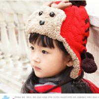 小鹿特厚帽 新款冬季保暖帽子 儿童帽子 加绒加厚宝宝球球帽子