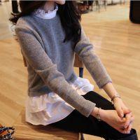 新款羊毛打底衫女装假两件韩版荷叶边中长款修身针织衫