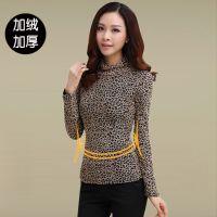 秋季新款韩版大码高领网纱打底衫修身加绒加厚雪纺蕾丝衫豹纹上衣