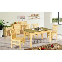 全实木餐桌椅松木餐桌钢化玻璃田园一桌四椅/六椅组合 品质保障