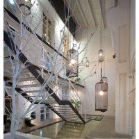 铁艺鸟笼灯 中式吊灯 简约田园 客厅灯 餐厅灯 卧室灯 酒店灯具