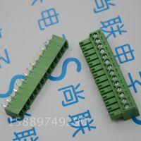 绿色接线端子插拔式 15EDG-14P 间距3.5MM直针 公母对插端子 14位