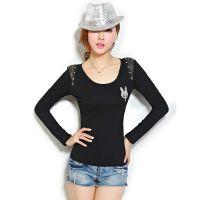 2014秋新打底衫个性短款修身韩版长袖 女t恤