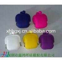 供应环保可丝印各种图案迷你硅胶小钱包 硅胶戒指包 硅胶手机袋