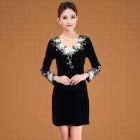 女装连衣裙秋冬新款白领气质修身蕾丝刺绣金丝绒加大码长袖连衣裙