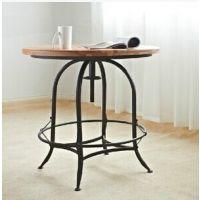 美式 铁艺 酒吧圆桌  咖啡桌 复古实木小圆桌  仿古桌
