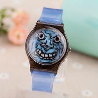 外贸新款手表 卡通鬼脸表盘 男女休闲石英手表 透明塑胶手表批发