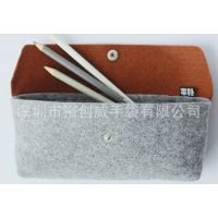 深圳龙岗手袋厂 加工生产毛毡料笔袋 环保毛毡制品