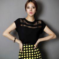 2014夏装韩版透视OL欧根纱雪纺衫 拼接气质上衣中长款打底衫短袖