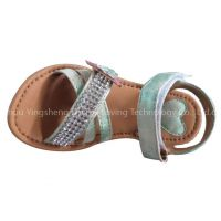 New Design Summer Fashion Adjustable Velcro Sling Back Strap Flat Sandals with Rhinestone for Kids