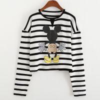 2015春款休闲时尚圆领套头短款针织衫 条纹米老鼠女式针织打底衫