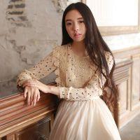 2014秋冬新款雪纺衫 韩版花色长袖打底衫蕾丝拼接雪纺上衣W83204