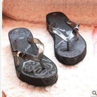 高档时尚蝴蝶结款人字凉拖鞋 ROXY 坡跟拖鞋 沙滩鞋 送女友