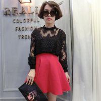 2015春装新款韩版女式蕾丝衫纯色长袖圆领网纱短款打底衫百搭上衣