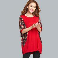 女士T恤短袖新款棉 2015春韩版新款格子拼色中长款打底衫222978