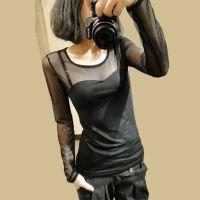 包邮2014秋季新品款韩版女装时尚修身显瘦网状长袖T恤低领打底衫F