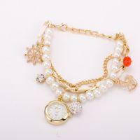 2015新款珍珠手链表 时尚韩版女士手表 船锚挂件吊坠手表现货批
