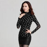 2014秋装新款韩版高领网纱打底衫女长袖黑白点修身大码女装