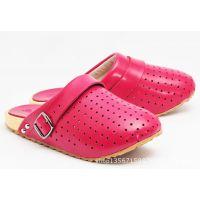 厂家直销2015新款男女通穿真皮镂空包头拖鞋磁疗保健木屐木底鞋