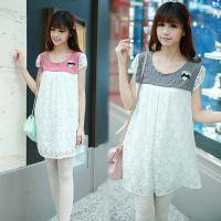 2014夏装新款 韩版纯棉孕妇打底衫上衣 宽松格子拼接大码T恤