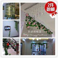 干花客厅装饰花艺塑料假花藤 玫瑰绢花花藤条2根促销 宏琪仿真花