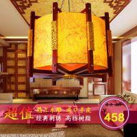 供应高档中式古典金色凤纹刺绣 布艺吊灯 客厅餐厅灯具仿古圆形灯8072