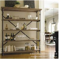 高档美式乡村家具铁艺置物架复古式做旧实木书架隔板储物架收纳架