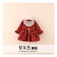 Z 冬款新款韩版童装 女童蕾丝钩花边加厚加绒单排扣碎花连衣裙