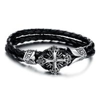 加盟代理 饰品分销 复古十字架 黑色双层真皮男士钛钢手链批发969