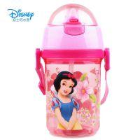 专柜正品迪士尼儿童水壶吸管水杯背带学生水壶 软吸管杯5683