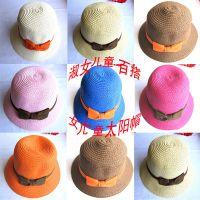出口韩国儿童蝴蝶结盆帽 宝宝礼帽 海边沙滩帽子 太阳帽
