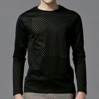 供应小g男装黑色烫金波点印花TEE丝光棉圆领修身打底衫长袖T恤潮T422