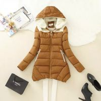素颜 2014冬装长款修身连衣帽鹿皮绒拼接时尚潮款女式夹棉外套