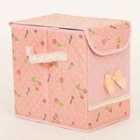 批发新款高品质 粉色樱桃有盖收纳箱 储物箱 整理箱 小号家居日用
