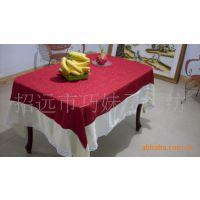 供应出口用高档提花面料绣花桌布、纯手工丝带绣台布
