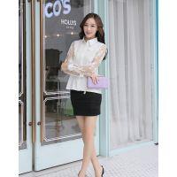 2014秋季新款韩版女装雪纺衫长袖衬衫蕾丝大码打底衫