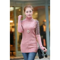 秋冬新款韩版修身女豹纹袖高领 一排扣加厚中长款针织打底衫