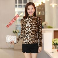 2014秋装新款韩版性感时尚修身显瘦豹纹高领T恤打底衫