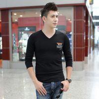 2014秋季新款男装 时尚潮人男式休闲t恤印花口袋长袖T恤打底衫