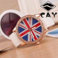 3494圈钻英国国旗 皮带手表 圈钻糅皮玫瑰金手表 女