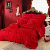 南通床上用品批发 纯棉婚庆十件套 贡缎提花多件套