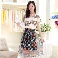 2014新款夏装两件套女装裙子 欧美连衣裙 欧根纱印花圆领短袖