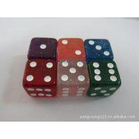 供应骰子、透明彩色骰子、亚克力骰子、金粉骰子、金葱骰子